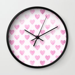 Cute Purple Watercolor Hearts Pattern Wall Clock