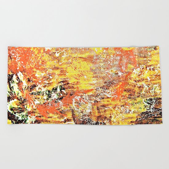 Golden Autumn Abstract Beach Towel