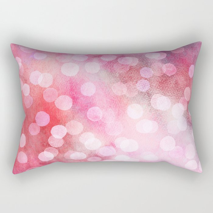 Strawberry Sunday - Pink Abstract Watercolor Dots Rectangular Pillow