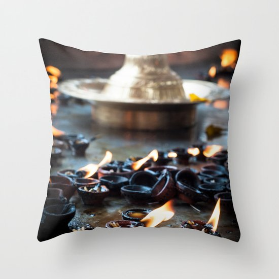 Divine Diyas Throw Pillow