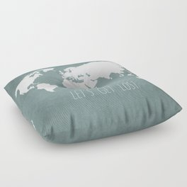 Let's Get Lost World Map Floor Pillow