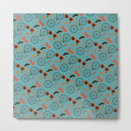 Colorful Hipster Elements Pattern on teal Metal Print