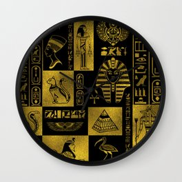 Egyptian  Gold hieroglyphs and symbols collage Wall Clock