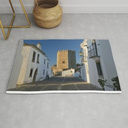 Monsaraz cobbled street and castle, Portugal Rug