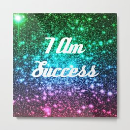 Success Affirmation Galaxy Sparkle Stars Metal Print