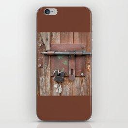Iron sliding bolt unlocked and padlock iPhone Skin