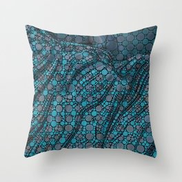 PIXIE cool hues of teal blue and purple dots pushed around Throw Pillow