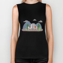 Cute Llamas Illustration Biker Tank