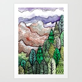 landscape forest montain pines Art Print