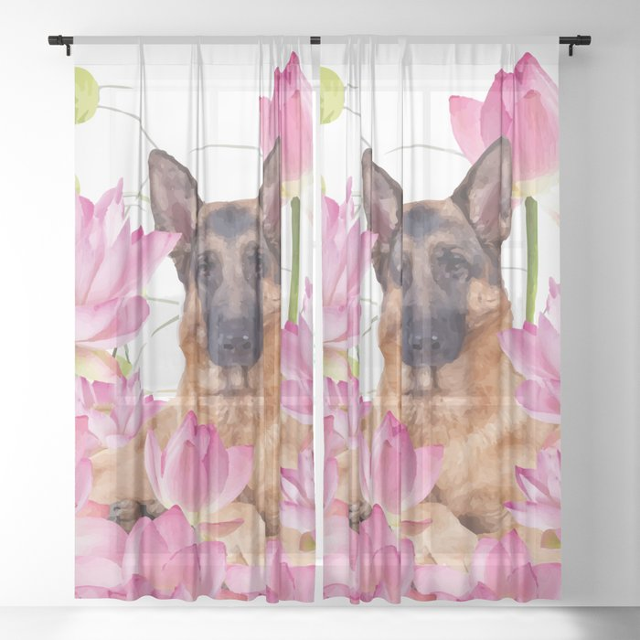 German Sheep Dog Lotos Field Sheer Curtain