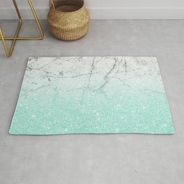 Azure Glitter and Grey Marble Rug
