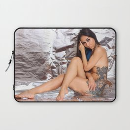 Nude woman with tattoo. Tattoo on woman body Laptop Sleeve