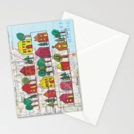 Cedarburg and Grafton, WI Continuous Line Drawing on vintage map Stationery Cards