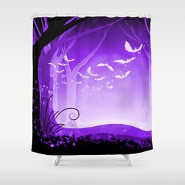 Dark Forest at Dawn in Amethyst Shower Curtain