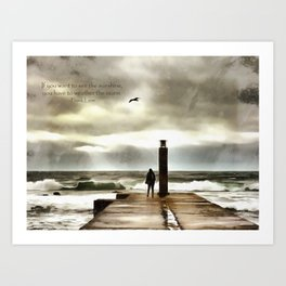 The girl in the storm, Cascais (Portugal) Art Print