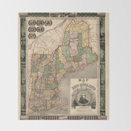Map of New England 1847 Throw Blanket