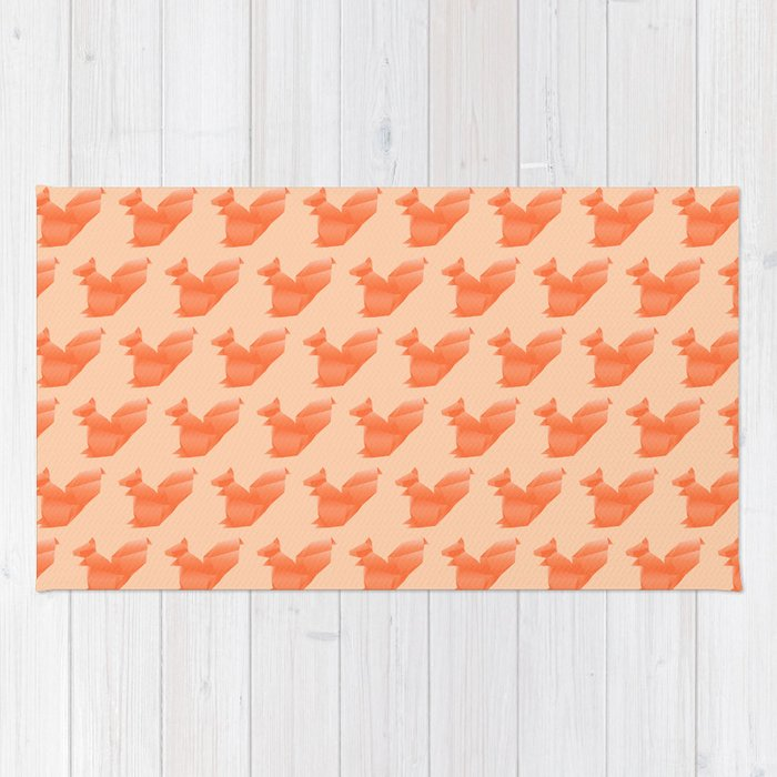 Allergic to Nuts - Origami Orange Squirrel Rug