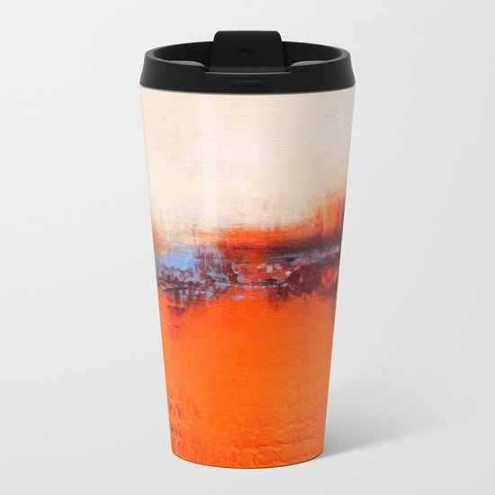 Orange and White Metal Travel Mug