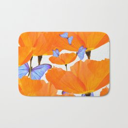 Poppies And Butterflies White Background #decor #society6 #buyart Bath Mat