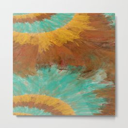Copper, Gold, and Turquoise Design Metal Print