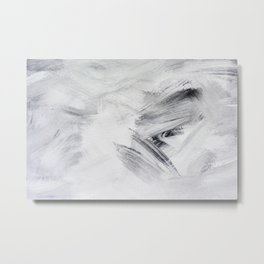 Chill Black & White Marble Abstract Paint Metal Print
