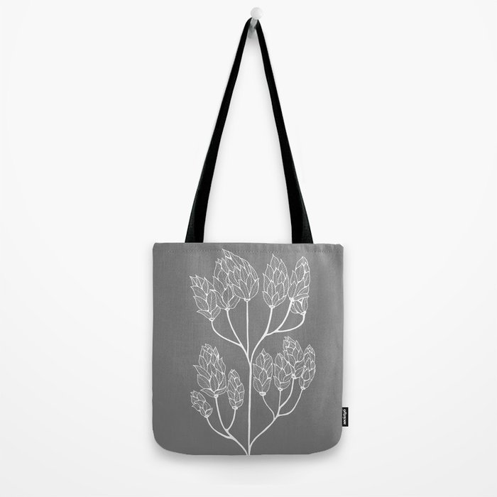 Leaf-like Sumac in Grey Tote Bag