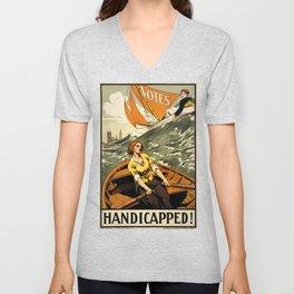 Suffragette Poster, Handicapped! Unisex V-Neck