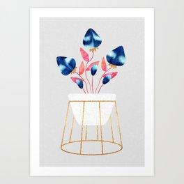 Blue Strawberry Flowers Art Print