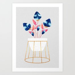 Blue Strawberry Flowers Art Print