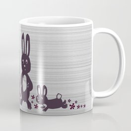 Easter Bunnies Posing For Their Photograph - Grey Black & White Coffee Mug