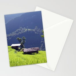 Bright Green Rice Field Nepal Stationery Cards
