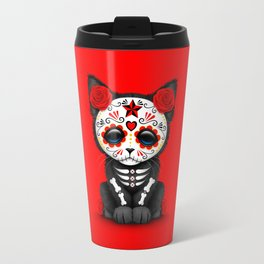 Cute Red Day of the Dead Kitten Cat Travel Mug