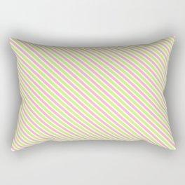 Pink and Green Diagonal Lines Rectangular Pillow