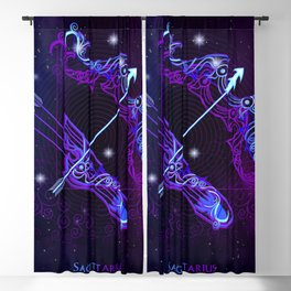 Zodiac neon signs — Sagittarius Blackout Curtain