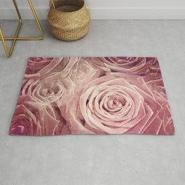 Distressed Roses - Double Exposure of Rose Blossoms Rug