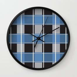black blue tartan pattern Wall Clock