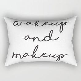 Wake Up, Make Up, Fashion Wall Art, Makeup Quotes, Hand Written Quotes, Boho Decor Rectangular Pillow
