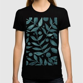 Watercolor berries and branches - teal grey T-shirt