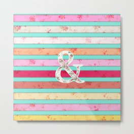 And...| Bright Whimsical Floral Ampersand Stitches Stripes Metal Print