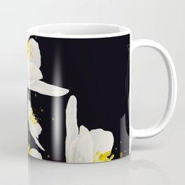 White Flowers On A Black Background #decor #buyart #society6 Coffee Mug