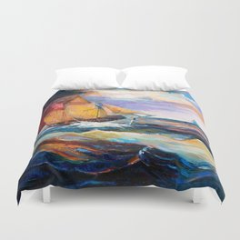 Fishing boats in the sea at sunset Duvet Cover