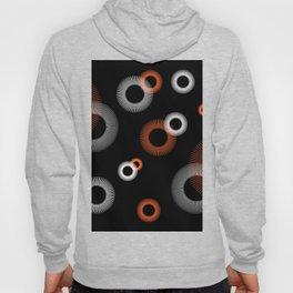 Orange White Starburst Pattern Black Hoody
