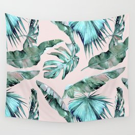 Tropical Palm Leaves Turquoise Green Coral Pink Wall Tapestry