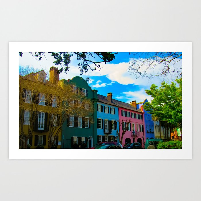 e9166454610 Rainbow Row Art Print by courtneymarklephotography
