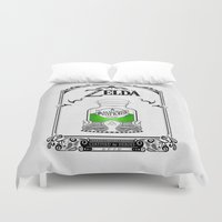the legend of zelda Duvet Covers featuring Zelda legend - Green potion  by Art & Be