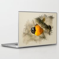 baltimore Laptop & iPad Skins featuring Baltimore Oriole Watercolor Painting by Christina Rollo