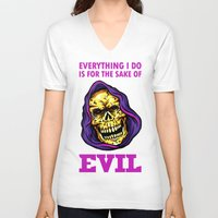 evil V-neck T-shirts featuring EVIL by DesecrateART (Infected)