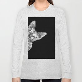Sneaky Sphynx Cat Black and White Long Sleeve T-shirt
