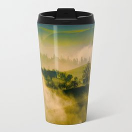Foggy Parallax Hills With Trees Travel Mug