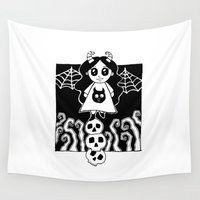 demon Wall Tapestries featuring Demon Girl by Chrystal Elizabeth